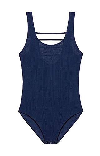 Victoria's Secret Pink Back Strappy Tank Bodysuit Blue Medium NWT