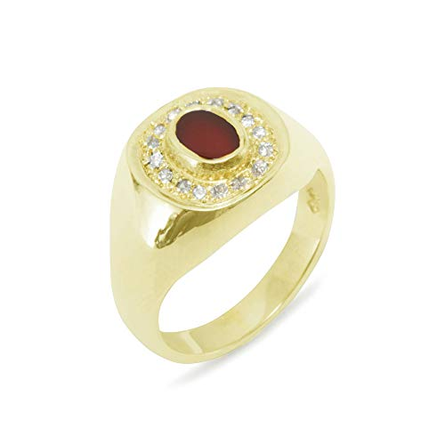 LetsBuyGold 14k Yellow Gold Natural Carnelian & Diamond Mens Signet Ring - Size 7.75 - Sizes 6 to 12 Available (0.14 cttw, H-I Color, I2-I3 Clarity)