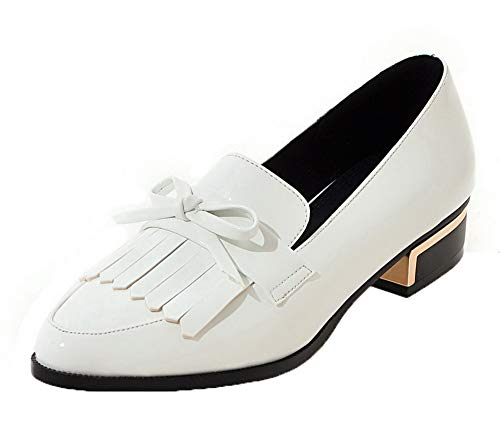 Puro AgooLar Tacco Donna Ballet Flats GMMDB006437 Bianco Basso Tirare v7f5qWw7