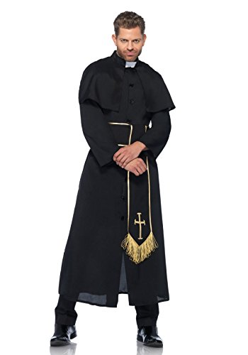 Leg Avenue Men's 2 Piece Priest Costume, Black, X-Large
