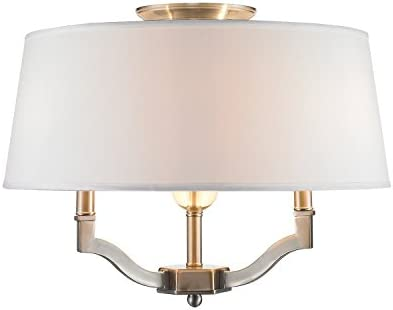 Golden Lighting 3500-SF PW-CWH Semi-Flush Ceiling with Classic White Shades, Pewter Finish