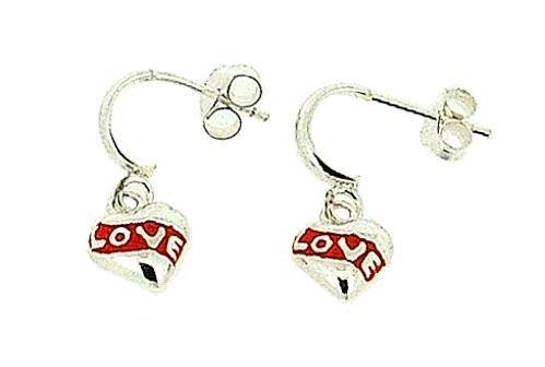 TOC Girls Sterling Silver Red Love Heart Drop Earrings 18mm