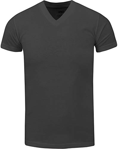 VNS22_ Active Mens Premium Cotton Heavy Weight V Neck Basic T Shirt D.Grey by Shaka Wear (Image #1)