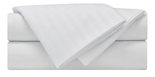 Mezzati Luxury Striped Bed Sheet Set - Soft and Comfortable 1800 Prestige Collection - Brushed Microfiber Bedding (White, King Size) by Mezzati