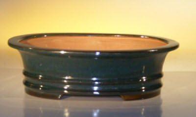 Amazon Com Bonsai Boy S Dark Moss Green Ceramic Bonsai Pot Oval 9 75 X 7 X 2 75 Od 8 5 X 5 5 X 2 25 Id Home Kitchen