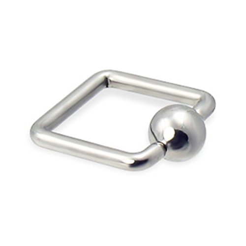 MsPiercing Square Captive Bead Ring, 14 Ga, 1/2