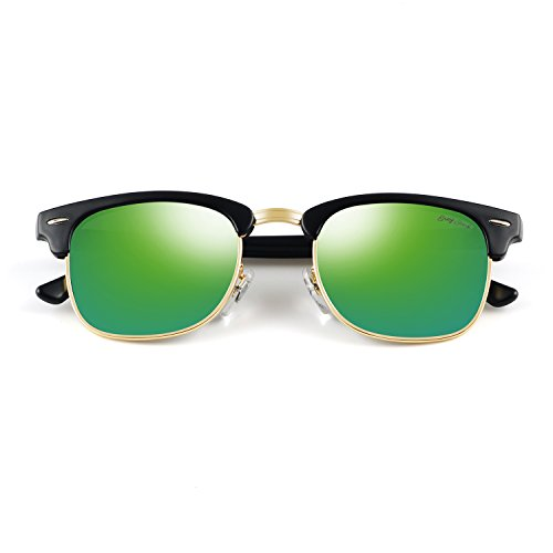 GREY JACK Classic Polarized Half Frame Mirrored Sunglasses Fashion Eyeglasses for Men Women Matte Black Frame Green Lens ()