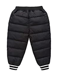 Toddler Boys Winter Warm Pants Kids Lightweight Down Pants Active Pants Trousers Black for 3-4T