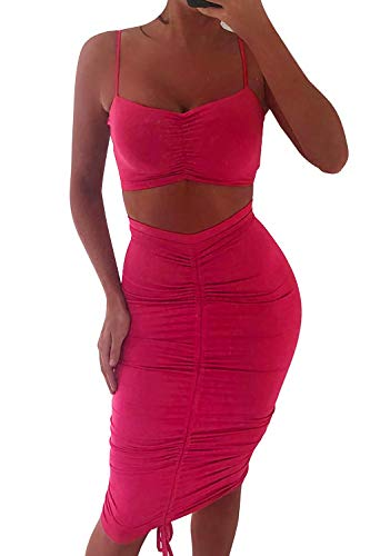 Velius Women's Sexy Drawstring Ruched Bodycon Clubwear Two Piece Dress Outfits (Small, Rose Red) - Musical Red Rose
