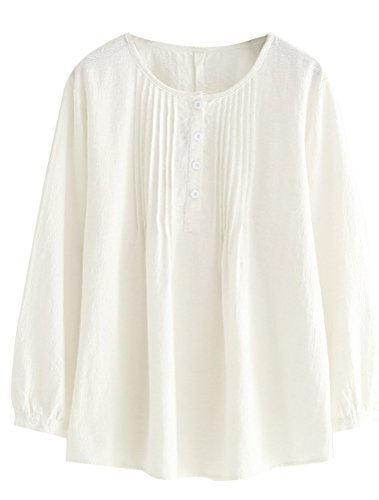 White Pleated Linen - Minibee Women's Scoop Neck Pleated Blouse Solid Color Lovely Button Tunic Shirt White L