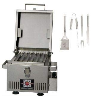 Pellethead Solaire SOL-IR8A Anywhere Mini Personal Infrared Propane Gas Grill Package with Free Grilling Utensils