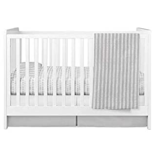 Ely's & Co. Baby Crib Bedding Sets for Boys and Girls — 4 Piece Set Includes Crib Sheet, Quilted Blanket, Crib Skirt and Baby Pillowcase — (Bamboo Design in Grey)
