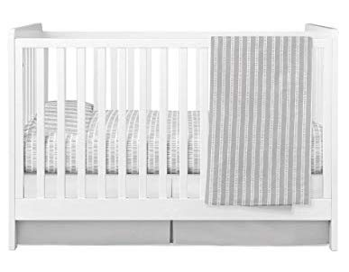- Baby Crib Set 4 pc, Crib Sheet,Quilted Blanket, Crib Skirt & Baby Pillow Case Grey Bamboo Design Combo
