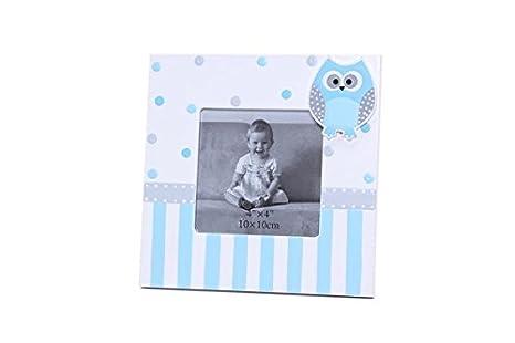 DISOK - Portafotos Cuadrado con Motivo Buhos Azul