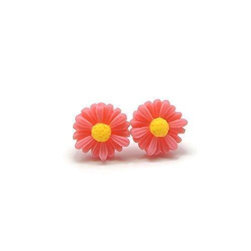 Daisy Earrings Metal Free Plastic Post Earrings for Sensitive Ears, Pink ()