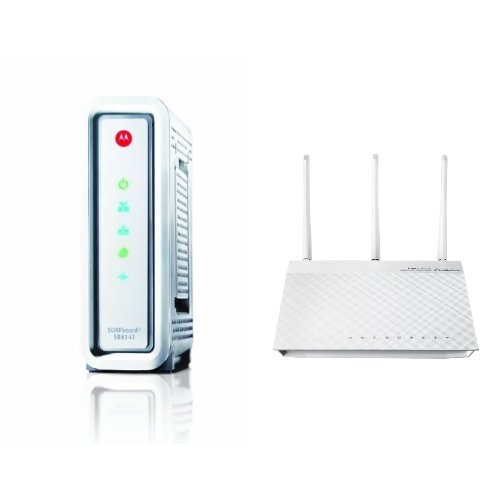 ARRIS SURFboard SB6141 DOCSIS 3.0 Cable Modem and  ASUS RT-N66W Dual-Band Wireless-N900 Gigabit Router