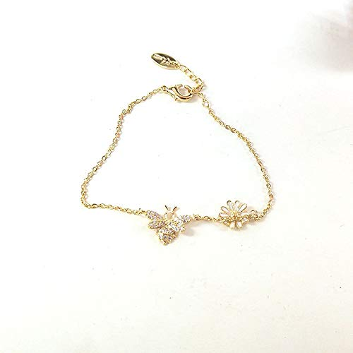 FuSi Women/Girls Gold Silver Chain Bracelet Adjustable Micro Pave Bee Cross Chain (Style 12)