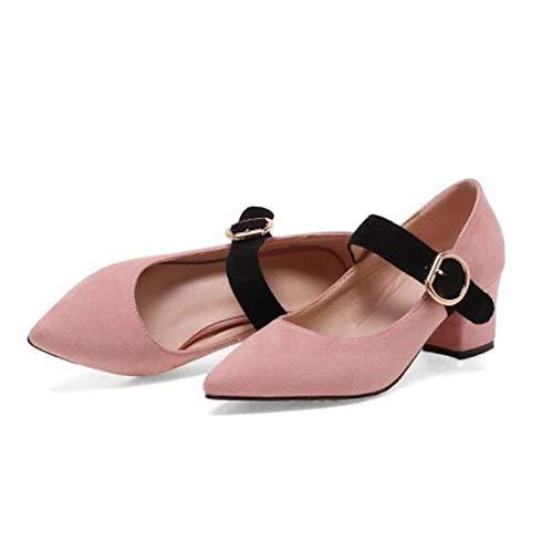 Fall ZHZNVX Comfort Chunky Pink Mujer Suede Heels Pink Beige Zapatos Heel de Black XrxwrFqIB