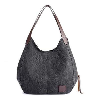 Amazon.com: Womens Canvas Handbags Female Hobos Single ...
