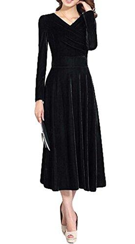 Robe Manches Plaer Femme Noir Longues vXdRwTq