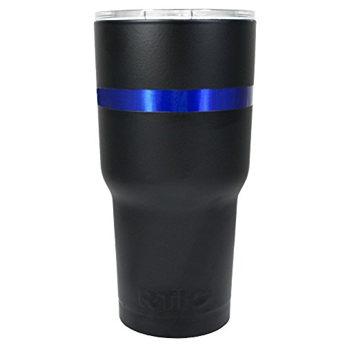 RTIC Thin Blue Line on Black Matte 30 oz Stainless Steel Tumbler Cup