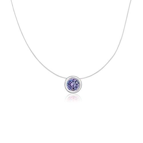 Sterling Silver Round Cut Cubic Zirconia Lavender Bezel Set Solitaire Pendant Necklace