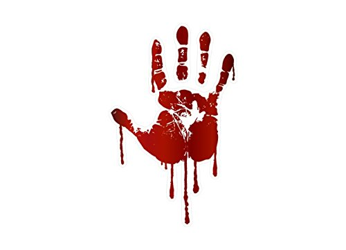 LIFE SIZE Bloody Hand Print Decals Walking Dead Zombie Halloween Prop Stickers (Right Hand) -