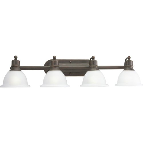 (Progress Lighting P3164-20 4-Light Wall Bracket with White Etched Glass, Antique Bronze)