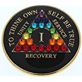 21 Year Black Chakra with Swarovski Crystals Tri-Plate Alcoholics Anonymous Medallion- AA Sobriety Chip