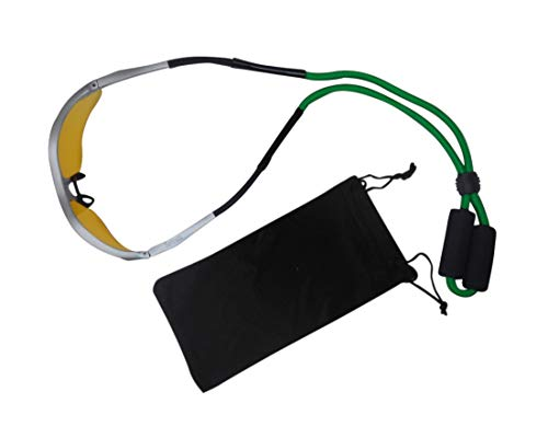 HTwo Floating Sunglasses Strap - Floating Sunglass Straps Premium Safety Lanyard Retainer for Watersports Eyewear with Case (Green)
