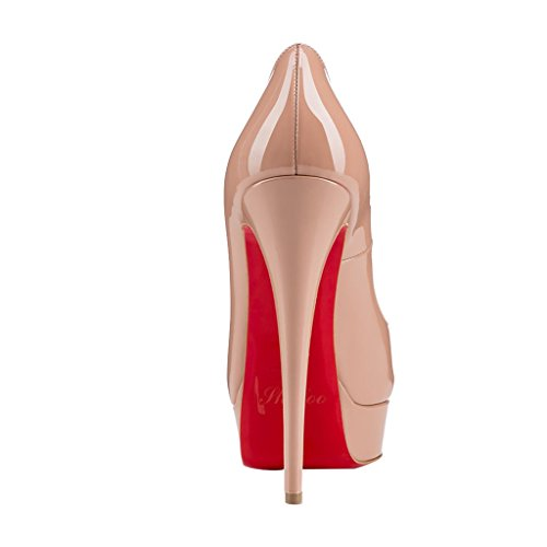 SHOFOO Women - Platform - Smooth Leather - Many Colors - Stiletto - Open Round Toe Pink lKo02G