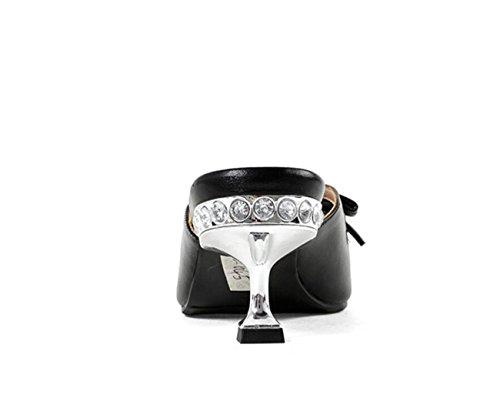 Arco tacón Zapatillas de en Verano Respirable Mujer de Punta al Diamante DANDANJIE Dedo Antideslizante Aire Alto Chanclas del pie caseros Negro Libre Zapatos Moda para Zapatos del wEq5U8