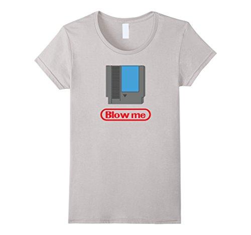 Women's Funny Gamer Parody - Blow Me 80s Shirt Medium Silver