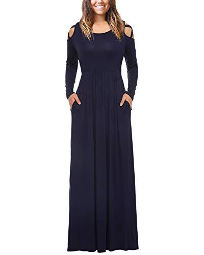 Mixfeer Womens Plain Maxi Dress Strappy Cold Shoulder Pockets Long Sleeve Dress Floor Length Dress Casual Long Dress