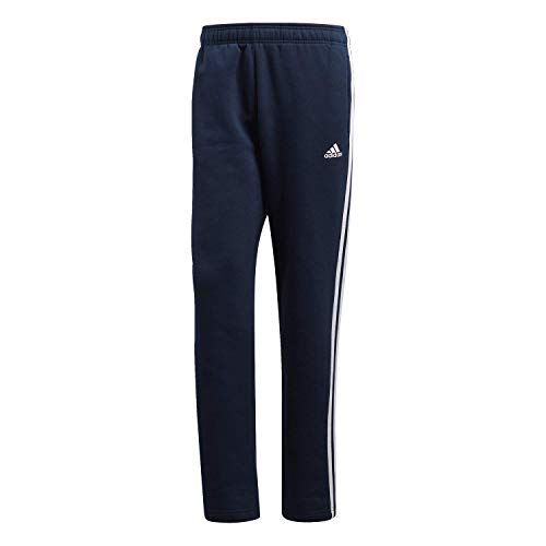 adidas Men's Essentials 3 Stripe Regular Fit Fleece Pants, Collegiate Navy/White, XX-Large