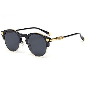 Konalla Sunglasses Half Frame Oval Coating Mirror Eyewear UV Protection UV400 C1