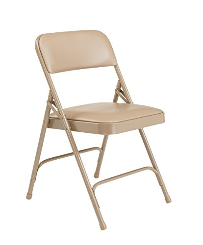Vinyl Seating - National Public Seating 1200 Series Steel Frame Upholstered Premium Vinyl Seat and Back Folding Chair with Double Brace, 480 lbs Capacity, French Beige/Beige (Carton of 4)