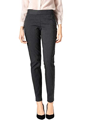 SATINATO Women's Straight Pants Stretch Slim Skinny Solid Trousers Casual Business Office (12, Zipper Free-Charcoal)