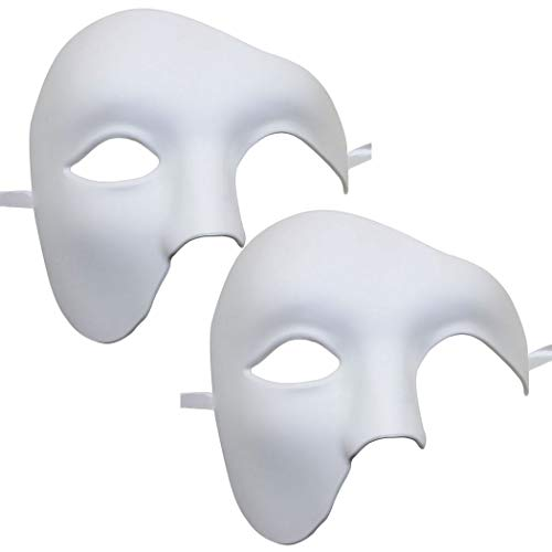 Coxeer Phantom of The Opera Mask Venetian Masquerade Mask Vintage Design (2PCS White)