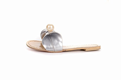 Latasa Womens Summer Cute Bow Flat Slides Slippers Silver pRL355Lmr