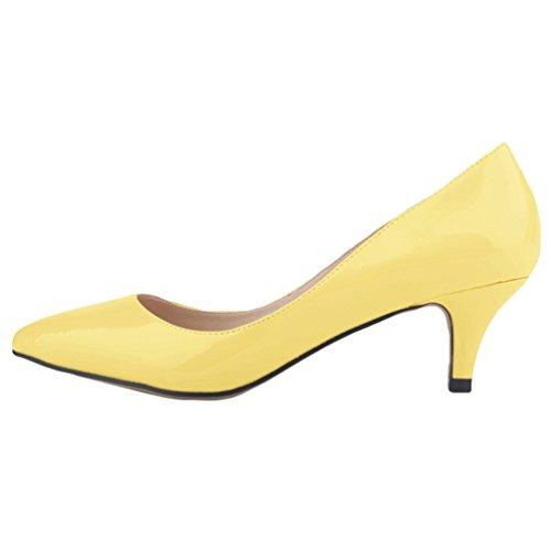 Wanyang Shoes Giallo Punta Tacco Elegante Kitten Scarpe Heel Spillo Synthetic Col A Donne Ragazze raOzxr7