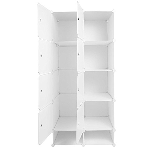 Ferty White Wardrobe Closet Organizer, Large DIY Portable Modular Cube Clothes Closet Storage (2) by Ferty