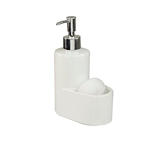 Heavy Duty Ceramic Soap Dispenser with Sponge Holder That Fit Perfectly In Any Home (White)
