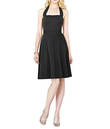Sherrydress Women's Black Cocktail Length Halter Chiffon Bridesmaid Dress
