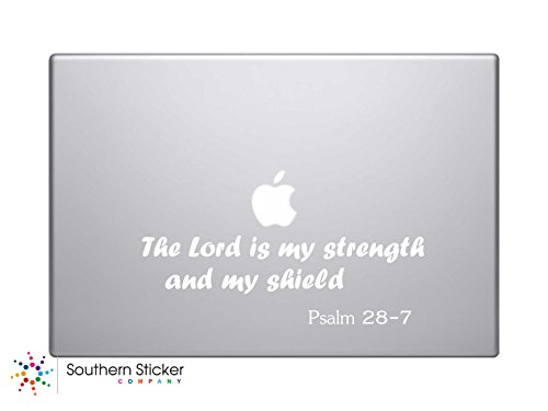The Lord Is My Strength and My Shield. Psalm 28-7 Bible Verse Vinyl Car Sticker Symbol Silhouette Keypad Track Pad Decal Laptop Skin Ipad Macbook Window Truck - Laptop Decals Bible Verse