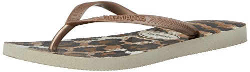 Havaianas Women's Slim Animals Flip Flop Sandal,Beige/Rose Gold, 41/42 BR(11-12 M US Women's / 9-10 M US - Havaianas Embossed Sandals