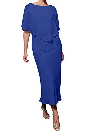 Royal Blau Etuikleider Damen Marie Brautmutterkleider La Abendkleider Hundkragen Braut Partykleider Chiffon q6KZA