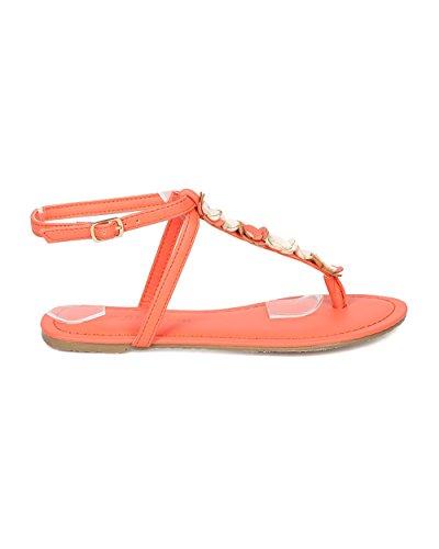 Alrisco Dames Bloemen Platte Sandaal - Gebloemde Decor Sandaal - T-strap Sandaal - Zomerse Casual Aangeklede Alledaagse Sandaal - Ha69 Van Wilde Diva Lounge Collectie Oranje