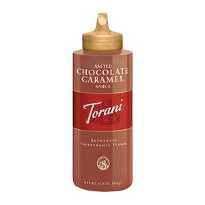 Torani Salted Chocolate Caramel Sauce 16.5 ounce (Pack of 4)