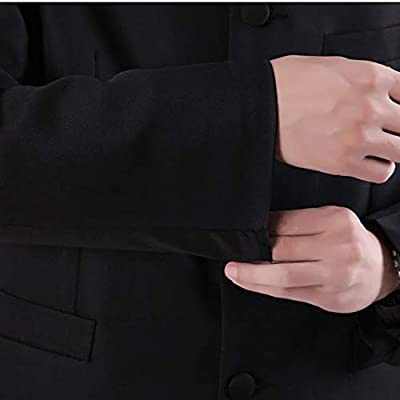 Chinese Tunic Suits Mandarin Collar Formal Black Suit Slim Fit Front Button Japanese School Uniform Groom Dress